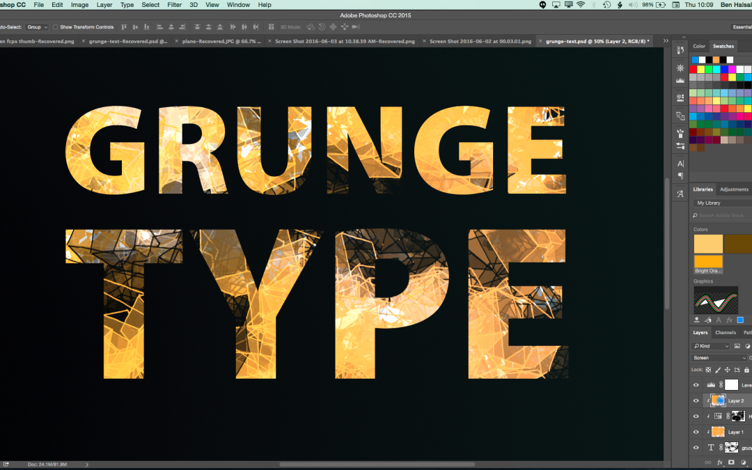 Photoshop: Grunge Text with Custom Brushes #freeclass @skillshare #yqr #adobephotoshop