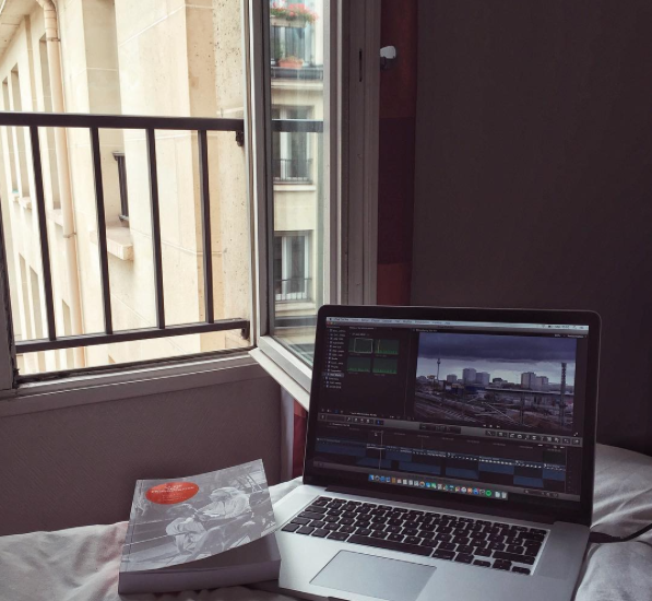 Catherine Dauphin setting up with #FCPX to edit in #Paris for the next days #fcpxama #travel #filmmaking #interface #instagram