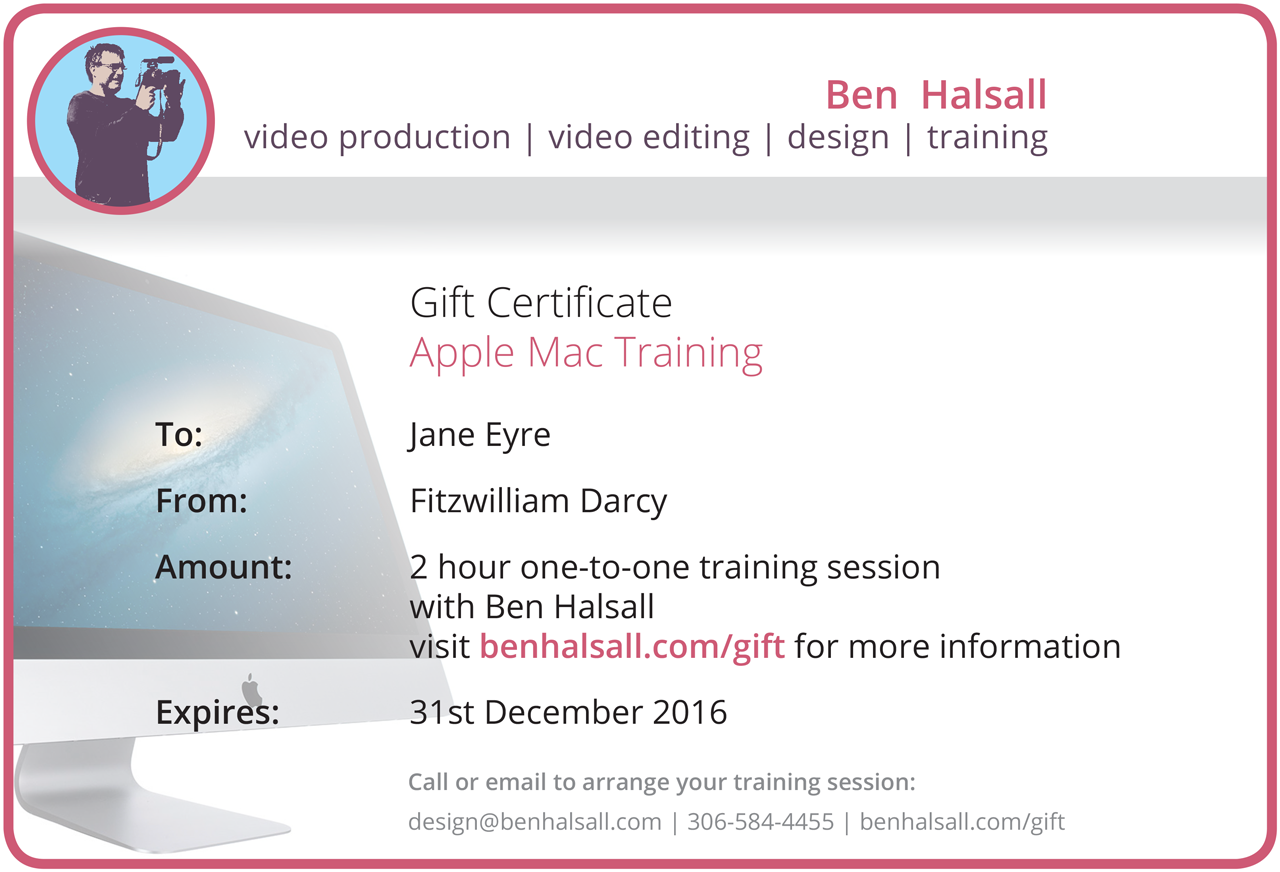 Apple mac training christmas gift certificates for 2016 yqr sask what can be covered in the session xflitez Images